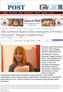 """Alla scrittrice Katia Colica assegnato il Premio Nazionale """"Reggio Calabria Day"""" Calabria Post"""