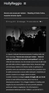Ancora una scusa per restare – Reading di Katia Colica musiche Antonio Aprile HollyReggio