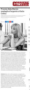 Premio Alda Merini medaglia d argento a Katia Colica Corriere della Calabria copy